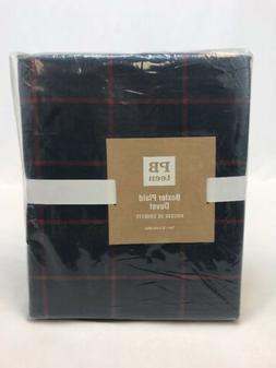 NWT Pottery Barn Teen Navy Blue/Red Plaid 100% Cotton Twin D