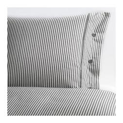 IKEA NYPONROS Duvet Comforter Cover Set GRAY STRIPE TWIN QUE