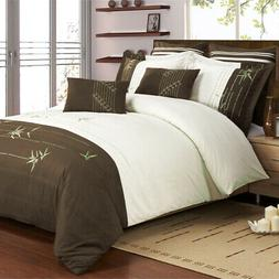 Olivia 7-Piece Duvet Cover Set, Embroidered Bamboo Detail, Q