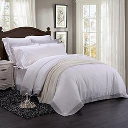 Simple&Opulence 100% Linen 3 Piece White Quilt Grey Border W