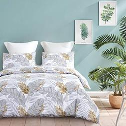 ozyholy Duvet Cover Set with Tropical Floral Leaves Pattern