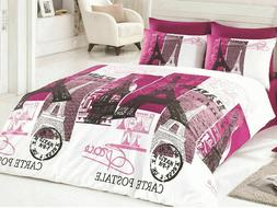 Paris Bedding Full/Queen Size Quilt/Duvet Cover Set Pink Eif