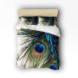 4 Pieces Peacock Pattern Bedding Set- King Size,Animal Print