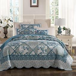 Tache Blue Patchwork Quilt Set - Petal Dance - Cotton Floral