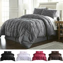 Pinch Pleat Pintuck Duvet Quilt Cover Pillowcases Bedding Se