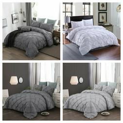 Pinch Pleat Pintuck Gray Duvet Cover Pillowcases Bedding Set