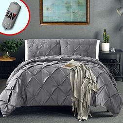 Vailge 3 Piece Pinch Pleated Duvet Cover with Zipper Closure