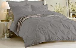 Pinch Pleated Duvet Cover Set 5 Piece With Zipper & Corner T