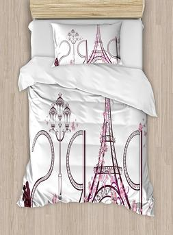 Ambesonne Pink Eiffel Tower with Paris Duvet Cover Set Twin