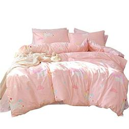 mixinni Pink Girls Duvet Cover Full Unicorn Cotton Queen Duv