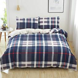 SAIWER Plaid Duvet Cover Set, 1 Queen Size Duvet Insert Cove