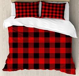 Ambesonne Plaid Duvet Cover Set King Size by, Lumberjack Fas