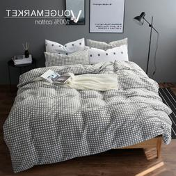 VM VOUGEMARKET Plaid Duvet Cover Set Queen,Full Cotton Gray