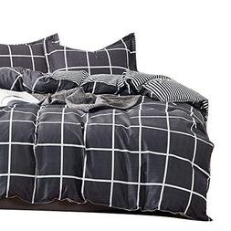 Uozzi Bedding 3 Pieces Large Plaid Queen Duvet Cover Set Hyp