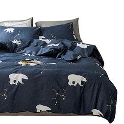 Polar Bear Pattern 100% Natural Cotton Navy Duvet Cover Set