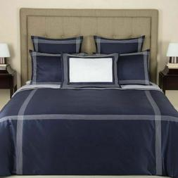 FRETTE Porto Sateen Queen Duvet Cover Navy NEW $600