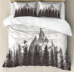 Ambesonne Primitive Duvet Cover Set, Mountain with Fir Fores