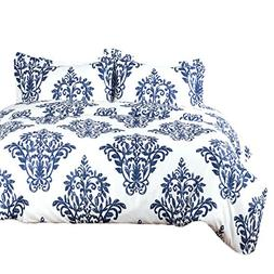 Bedsure Printed Damask Pattern Duvet Cover Set with Zipper C