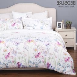 Bedsure Printed Floral Duvet Cover Set Soft Duvet Cove 3PCS