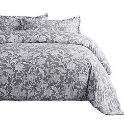 Bedsure Printed Floral Duvet Cover Set Twin Size Grey Duvet