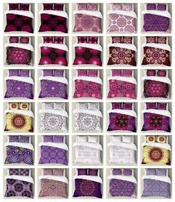 Purple Mandala Duvet Cover Set Twin Queen King Sizes with Pi