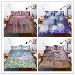 Unicorn Duvet Cover Set Cartoon Unicorn Bedding Kids Girls B