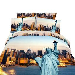 Queen 6 Piece Duvet Cover Bedding Set - 100% Combed Cotton D