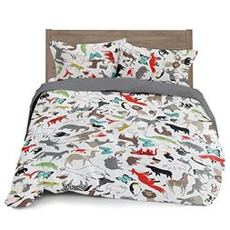 Full/Queen Animal Duvet Cover Set with 2 Pillowcases for Kid