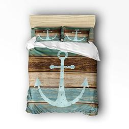 4 Pieces Home Comforter Bedding Set, Nautical Anchor Rustic