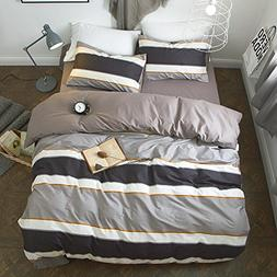 VClife Queen Bedding Sets Stripe Duvet Cover with 2 Pillowca