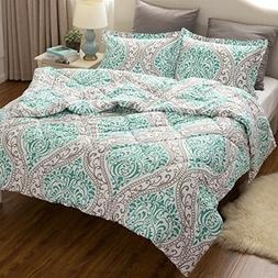 Full/Queen Comforter Set Classics Green Damask Design Down A