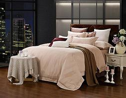 Queen Duvet Cover Set - 6 Piece Jacquard - 100% Cotton Dolce