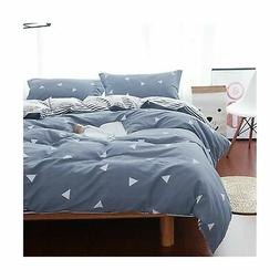 Uozzi Bedding Queen Duvet Cover Set Blue Gray & Triangles 3
