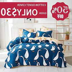 Uozzi Bedding Queen Duvet Cover Set Goose Pattern 100% Cotto