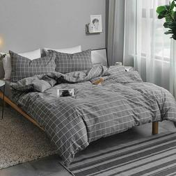 queen duvet cover set gray 3 pieces