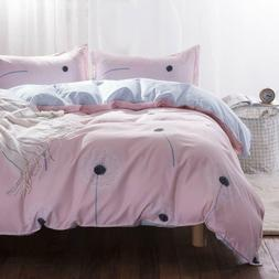 Uozzi Bedding Queen Duvet Cover Set Pink Floral 3 Pieces TC