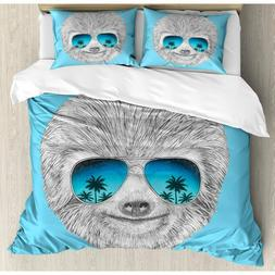 Queen Duvet Set: Sloth w/ Sunglasses by Ambesonne. New!
