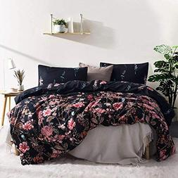 Leadtimes Kids Duvet Cover Set Girls Floral Leaf Black Beddi