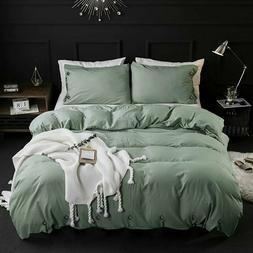 DCP Queen Washed Cotton Duvet Cover Set,Quilt Bedding Cover
