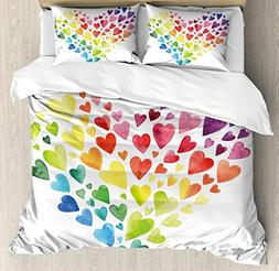 Ambesonne Rainbow Duvet Cover Set Queen Size, Multicolored H