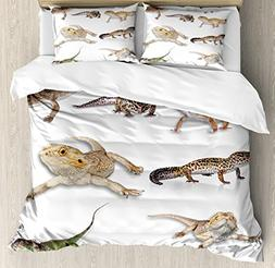 Ambesonne Reptiles Duvet Cover Set Queen Size, Multi Colored