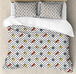 Ambesonne Retro Queen Size Duvet Cover Set, Blue Eyes Crowns