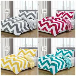 Chezmoi Collection Reversible Chevron Zig Zag Duvet Cover Se