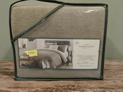 Threshold Reversible Flannel Herringbone Duvet Cover Set - F
