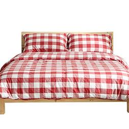 OTOB Reversible Red White Plaid Bedding Sets Twin Collection