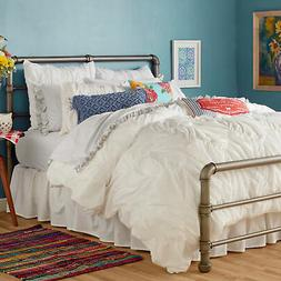 The Pioneer Woman Ruched Chevron Duvet Cover White Full/Quee