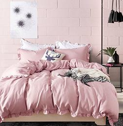Ruffle Princess Bedding Pink Duvet Cover Queen Size for Girl