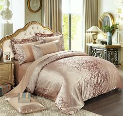 UniTendo 4 Piece Sateen Cotton Jacquard Duvet Cover Sets,Del