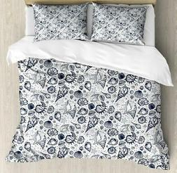 Sea Shells Duvet Cover Set Twin Queen King Sizes with Pillow