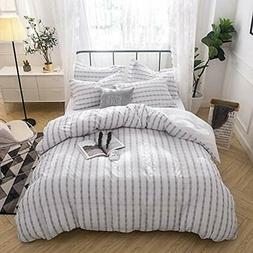 Seersucker Duvet Cover Sets 100% Cotton Yarn Dyed - King Gre